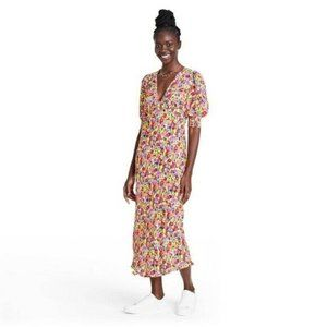 NWT RIXO for Target Floral Puff Sleeve Maxi Dress